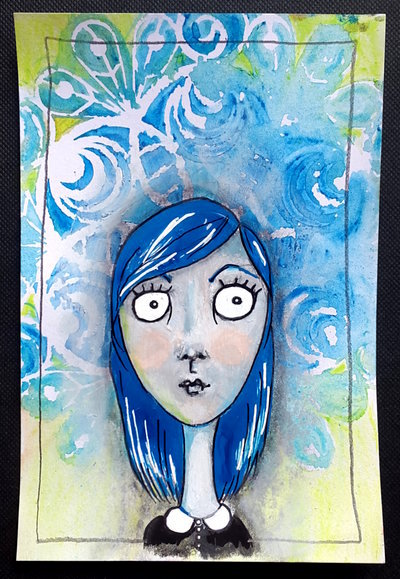Whoopidooings: Carmen Wing - Mixed media girl illustration #SummerofColor2015