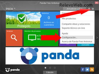 Interfaz configurando Panda free antivirus