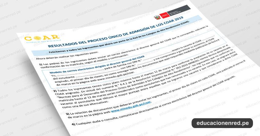 COAR 2019: Recomendaciones y Precisiones para Ingresantes a la Red de los Colegios de Alto Rendimiento - MINEDU - www.minedu.gob.pe