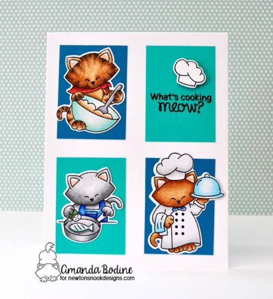 Cats cooking in kitchen card by Amanda Bodine |  Newton's Kitchen Stamp Set by Newton's Nook Designs #newtonsnook #handmade #kitchenstamps