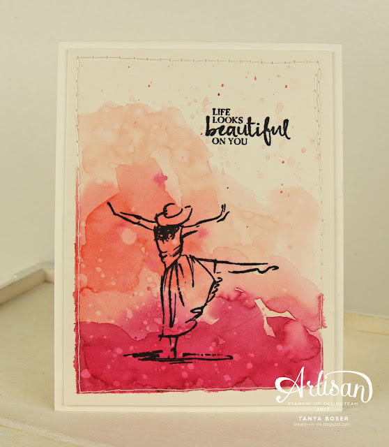 Layers of pink watercoloring create a lovely background for this dancing lady from Stampin' Up! 's Beautiful You stamp set. It is Breast Cancer Awareness month, and this card is in honor of that. Tanya Boser for the Stamp Review Crew