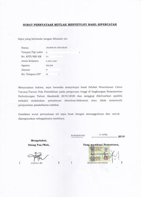Contoh Format Surat Pernyataan Mutlak Menyetujui Hasil SIPENCATAR