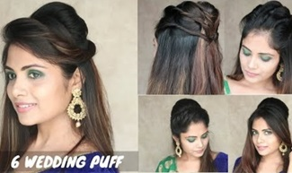 6 Puff Hairstyle For Wedding | Easy Puff Hairstyle For Medium Hair