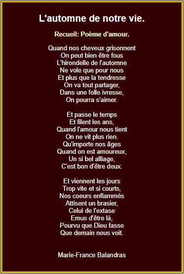 Poème sur l'automne de notre vie