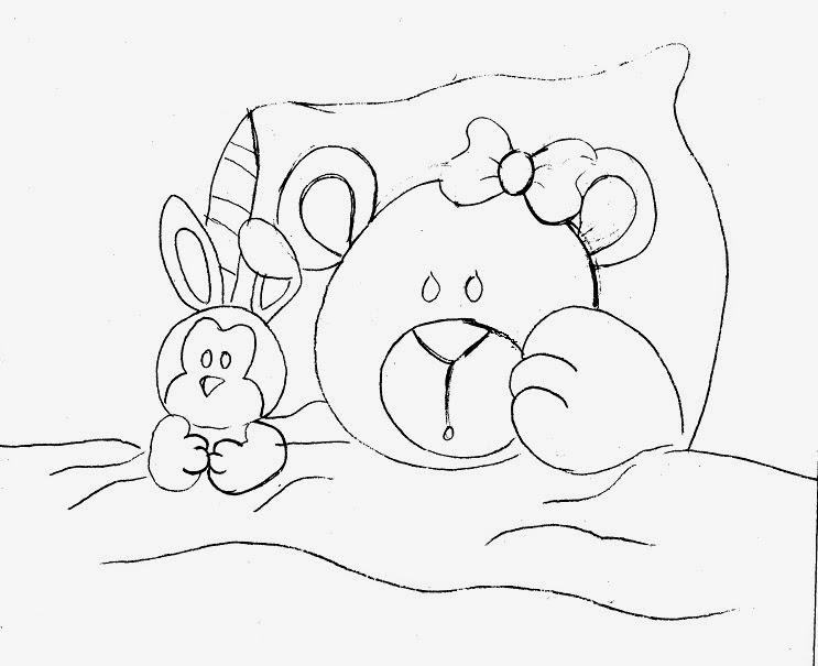risco ursinha deitada com coelho