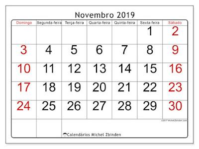 Calendário novembro/2019