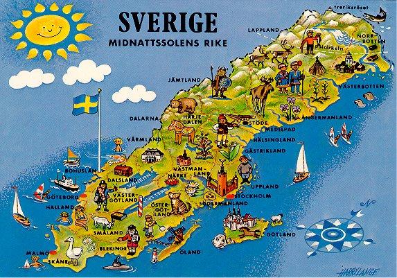 Pocztowkowe Mapy Szwecja
