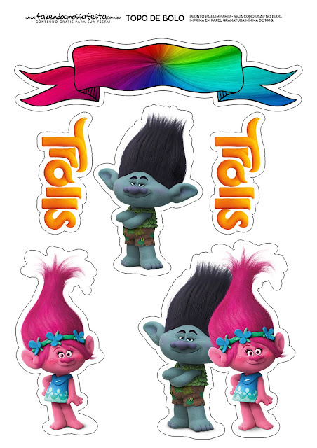 Trolls: Free Printable Cake Toppers.