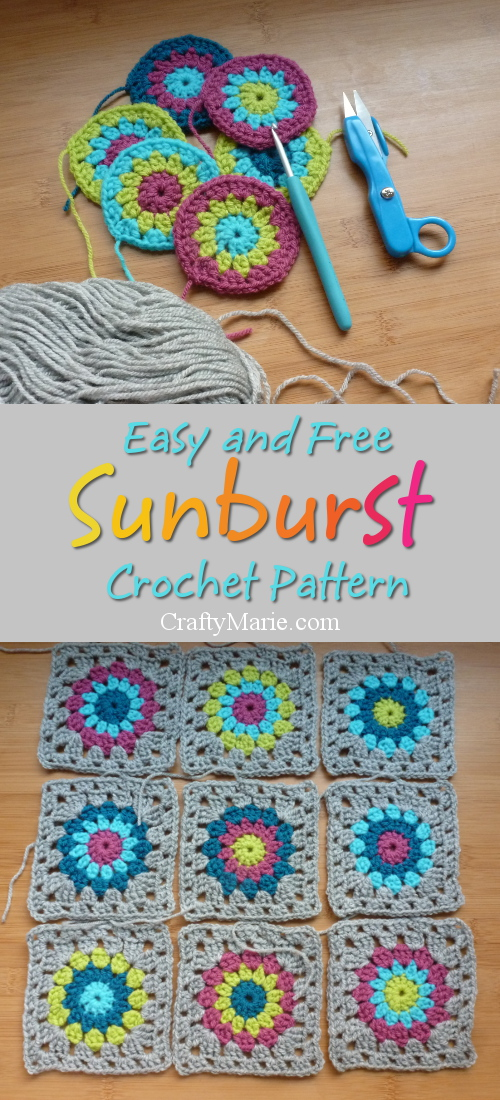 Easy and free pattern to make the popular sunburst crochet design with step by step instructions to follow.