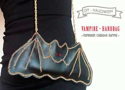 Bolso murciélago de cuero con cadenas y plantilla