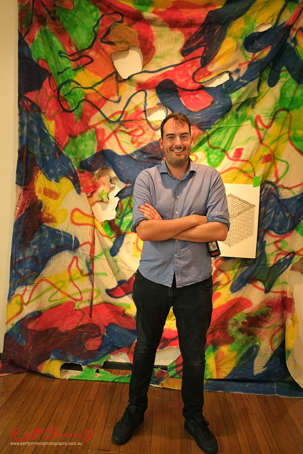 "Artist Patrick Cremin at ""Defence Mechanisms"" Opening Night  AD Space UNSW Art and Design"
