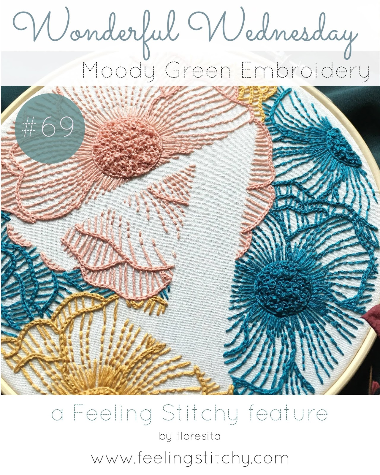 Wonderful Wednesday 69 - Moody Green Monogram Pattern as featured by floresita on Feeling Stitchy