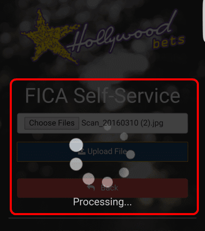 Click upload file and the FICA document will be uploaded to the Hollywoodbets FICA website