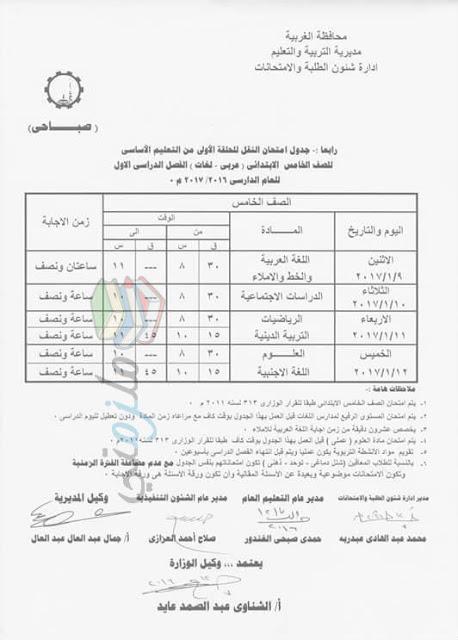 جدول امتحانات الصف الخامس الابتدائي 2017 الترم الأول محافظة الغربية