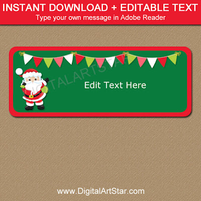 red and green printable Santa gift labels