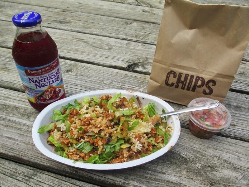 Chipotle Vegetarian Burrito Bowl, Chips, Pico De Gallo, and Nantucket Nectars Pomegranate Cherry Juice