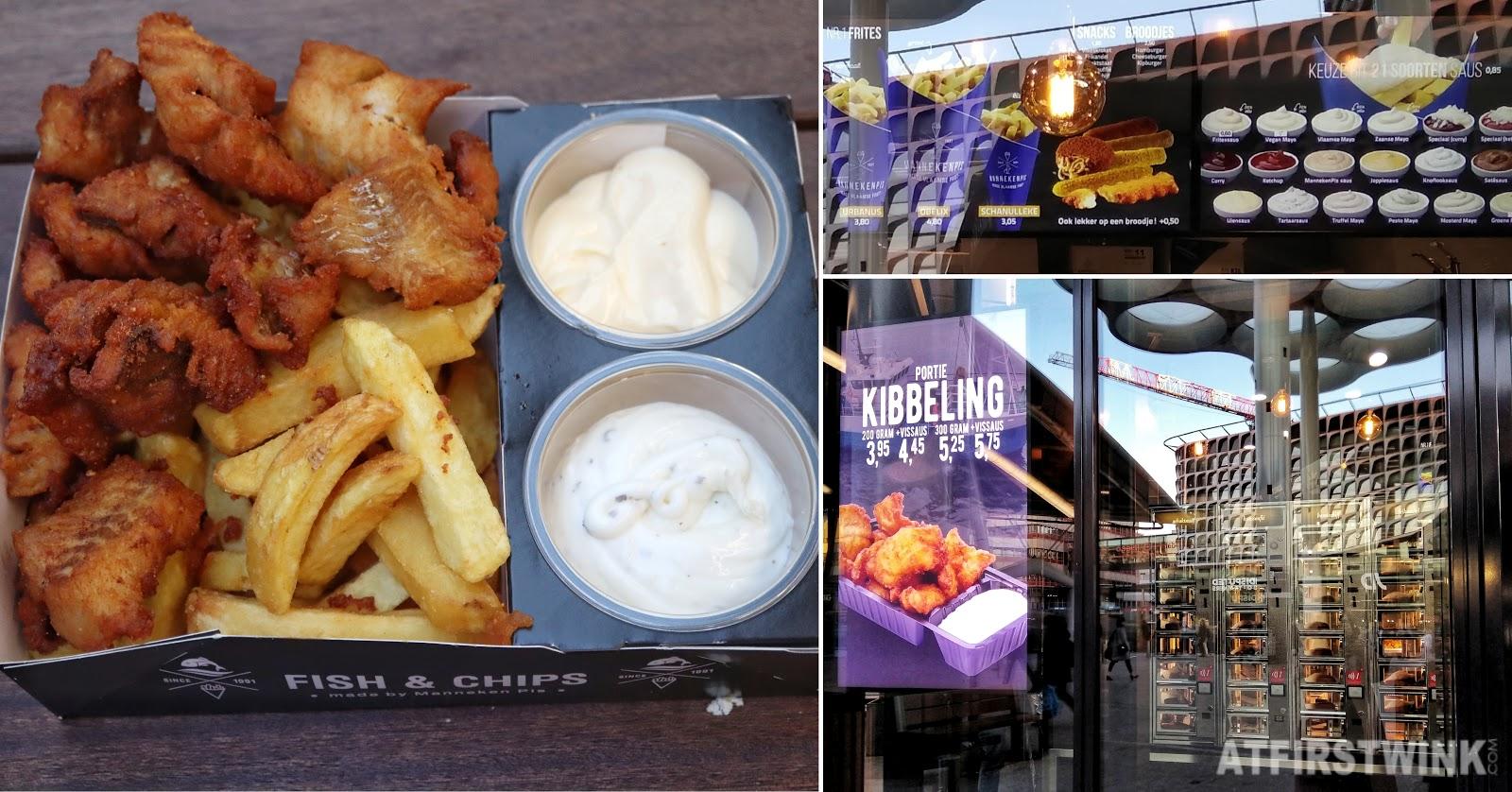 Manneken Pis Friet fries shop Utrecht Centraal Station fish and chips Kibbeling vlaamse friet ravigotte sauce mayonnaise fries fried fish bites