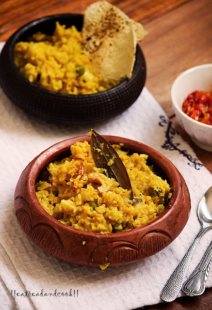 how to make Bhoger Khichuri / Bhaja Muger Khichuri / bengali style pure khichdi made with dry roasted moong dal recipe and preparation with step by step pictures
