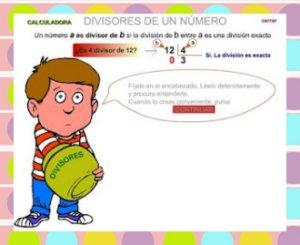 http://www3.gobiernodecanarias.org/medusa/eltanquematematico/todo_mate/multiplosydivisores/divisores/divisores_p.html