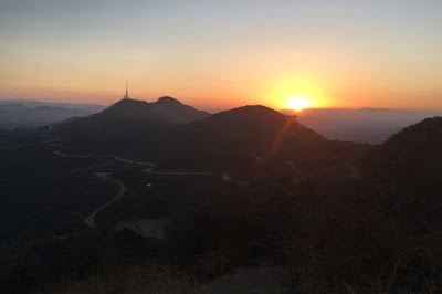 View of sunset from atop Baby Bell, Griffith Park, Los Angeles, June 22, 2016