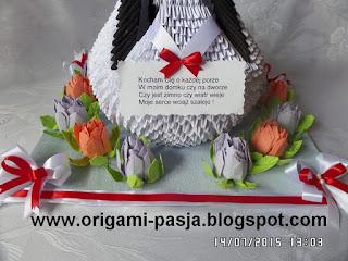 Łabedz origami modułowe.