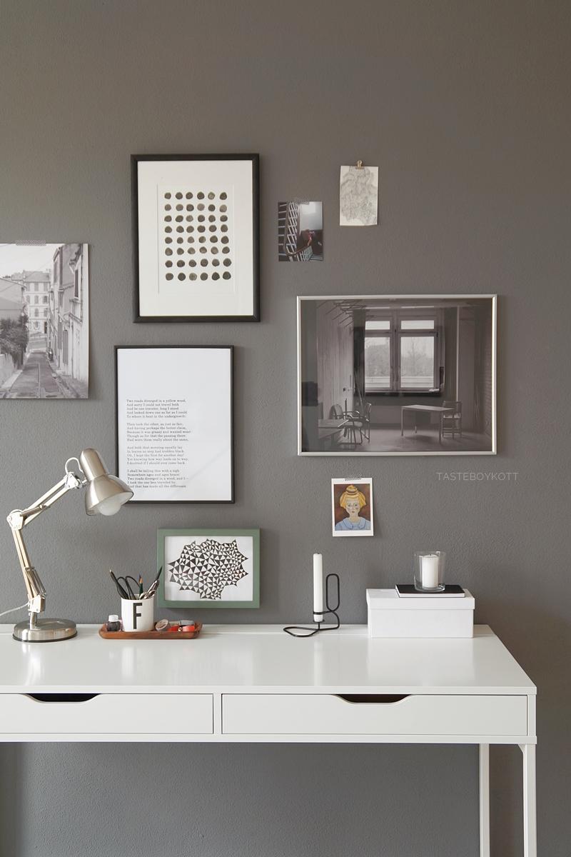 How To - Stylingtipps: Schreibtisch dekorieren. Dekotipps mit GIF als Anleitung und Collagen der schönsten Schreibtischleuchten, Tabletts und Dekoobjekte für den Arbeitsplatz. Tasteboykott.