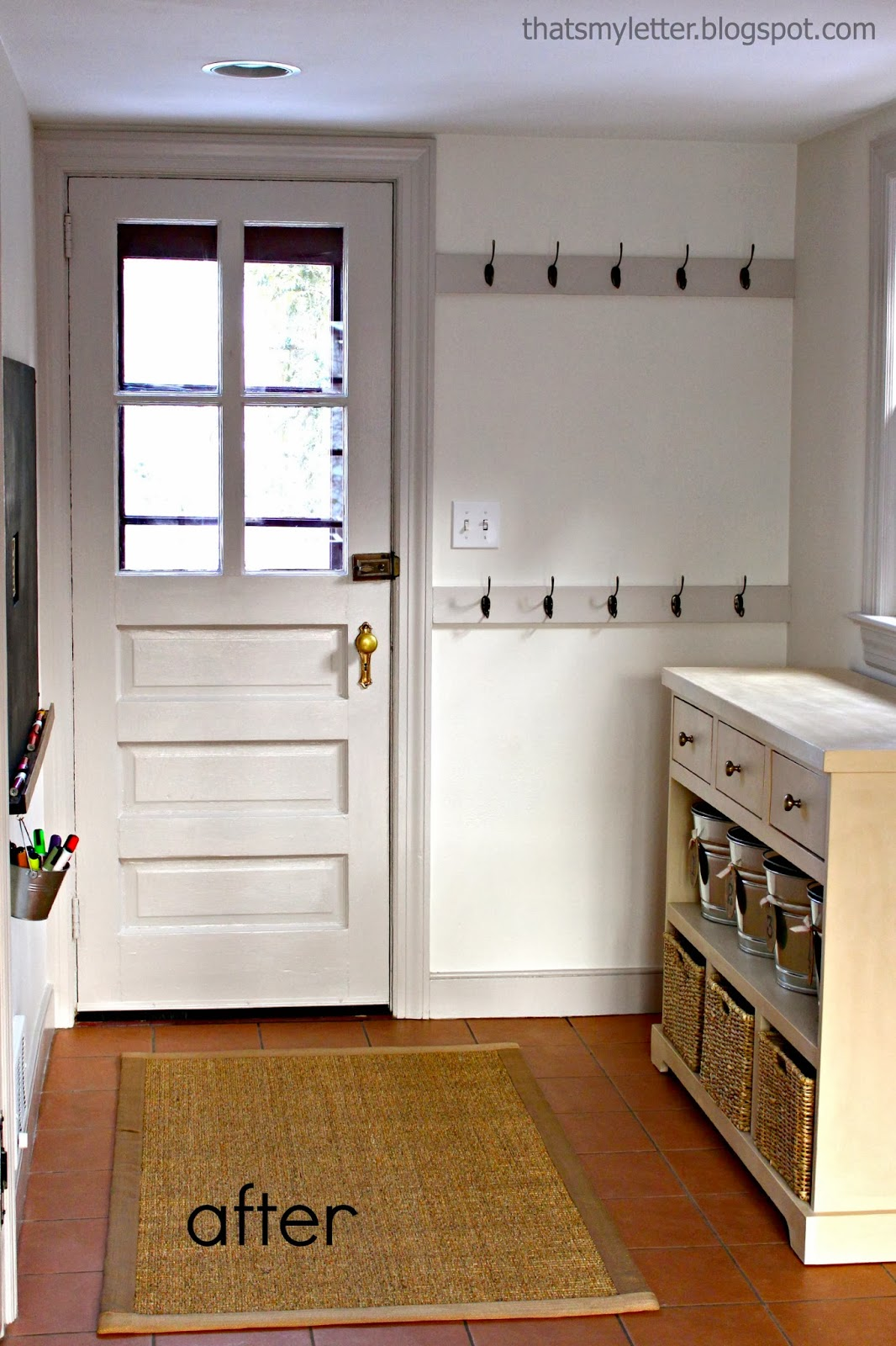 farmhouse mudroom after