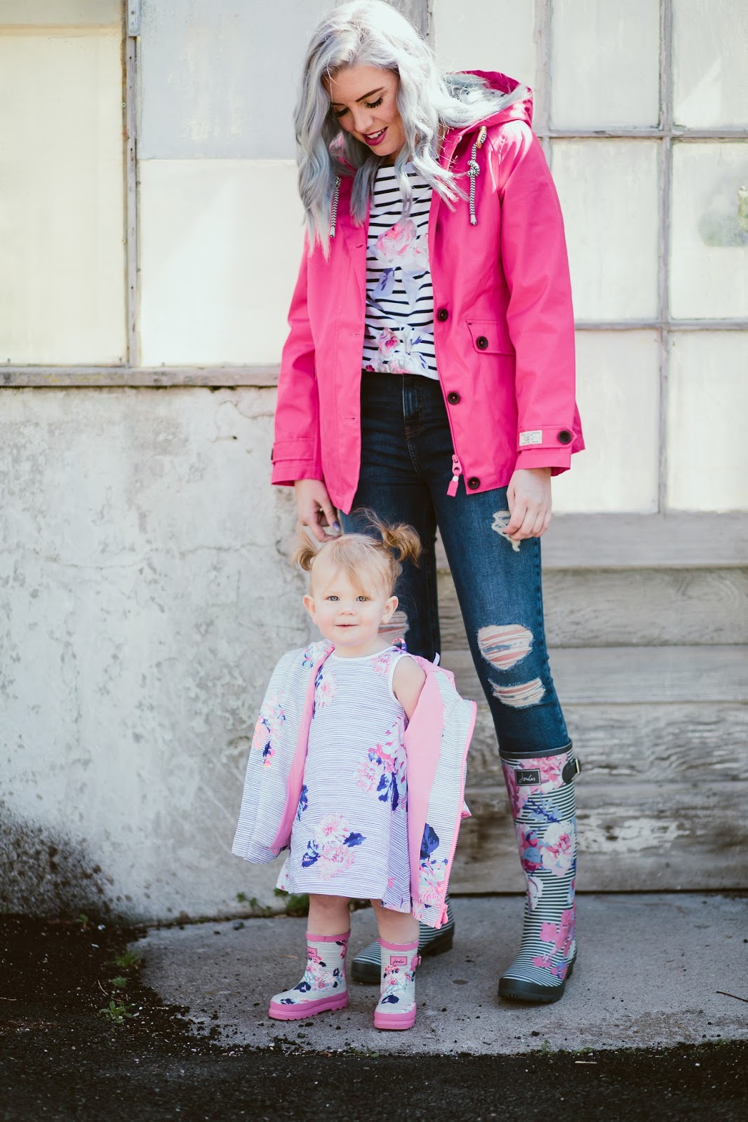 Printed Rain Boots, Pink Rain Jacket, Style Blogger