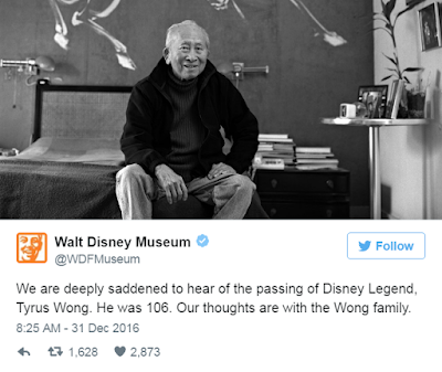 The Chinese-American artist Tyrus  Wong dies at the age of 106.