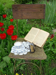 afternoon tea, garden, tea cup, book