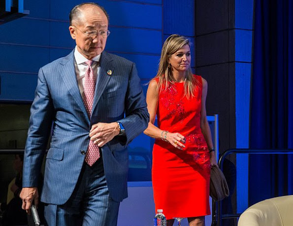 Dutch Queen Maxima wore Natan dress in red, and wore Natan pumps
