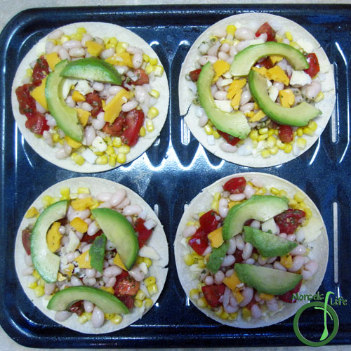 Morsels of Life - Avocado Bean Quesadillas Step 4 - Alternatively, place half the tortillas on a baking tray (preferably one with openings) and top with fillings.