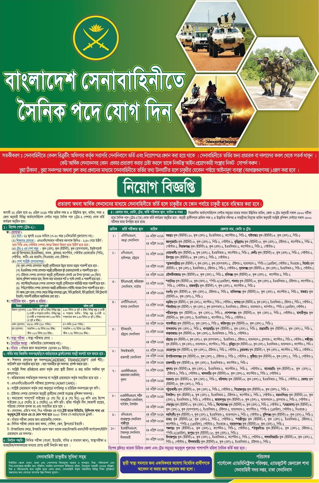 Bangladesh Army Special Occupation Soldier(সৈনিক)  Recruitment Circular 2019