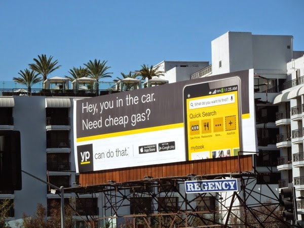 Hey you in the car need cheap gas Yellow Pages billboard