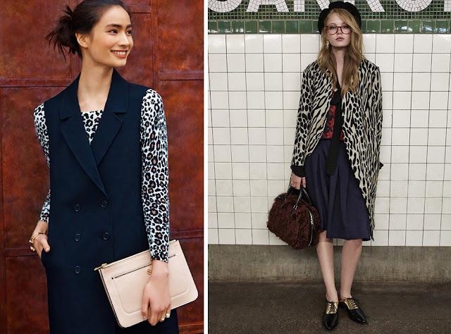Темно-синий жилет и темно-синяя юбка с леопардовой блузкой и пальто