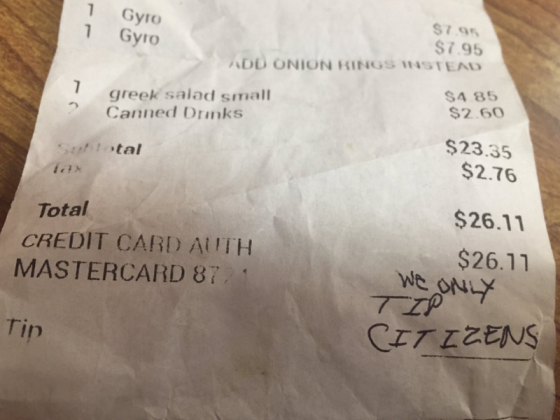 Waitress receives receipt with racial message - 'we only tip citizens'