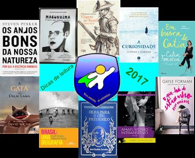 """Descrição da imagem: Trata-se de uma montagem em que as capas dos livros sugeridos aparecem juntas, formando um círculo. No centro, está nosso logotipo e ao seu lado, lê-se: """"Dicas de leitura 2017""""."""