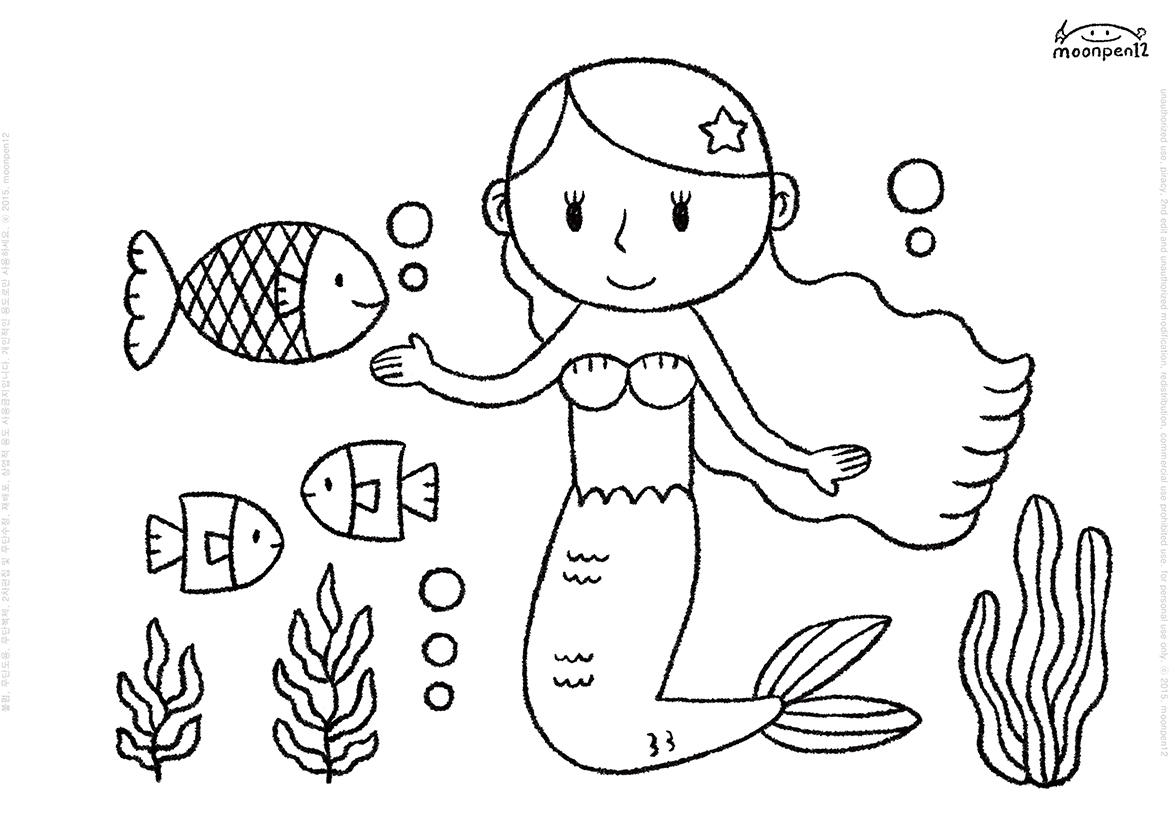 Moonpen12 Little Mermaid Amp Fish Coloring Book Page Print