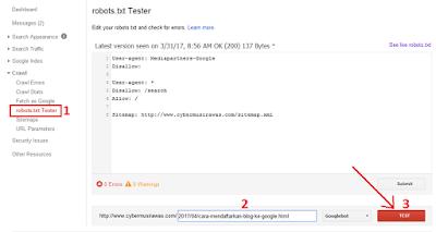 cara setting robot txt di blogger