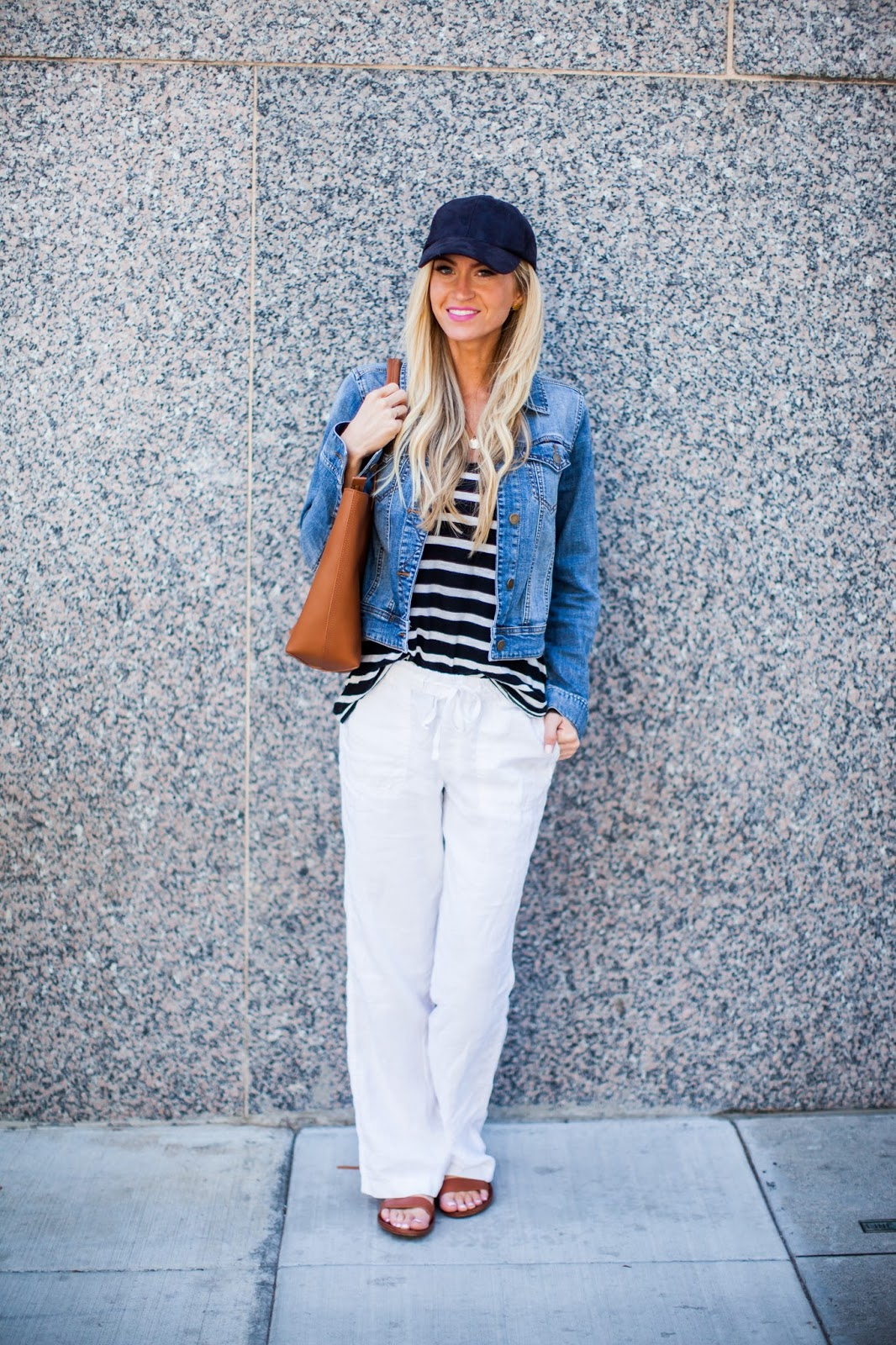 The top trend series four ways to style white linen pants for White pants denim shirt