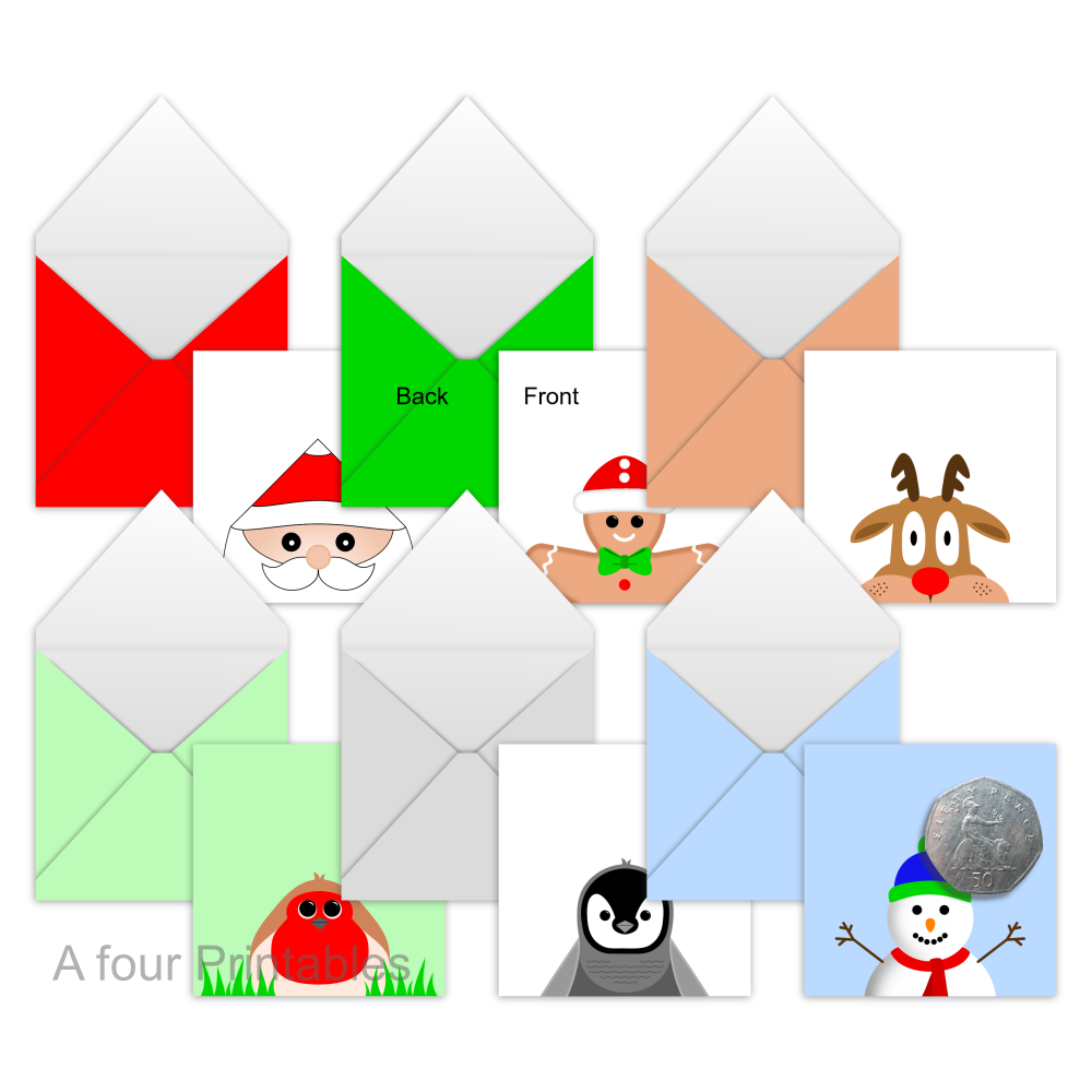 Set of six fun Christmas characters printable mini envelopes from A four Printables.