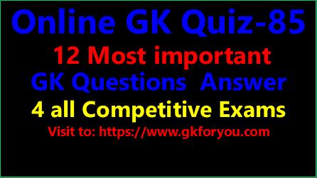 Online GK Quiz-85 I GK in HindI