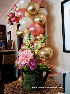 Bridal shower organic balloon arch rose-gold