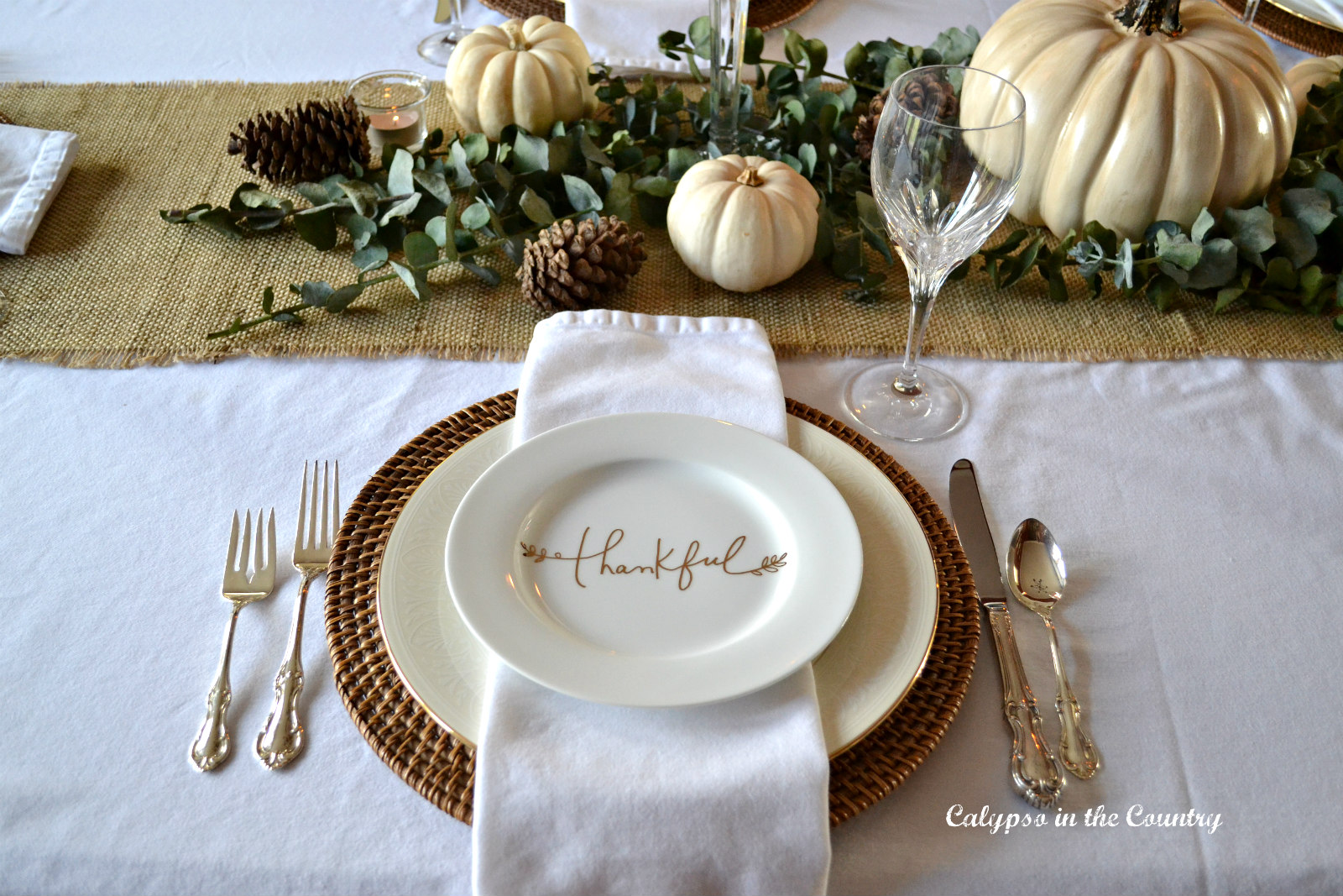Thankful Place Setting on White Tablecloth