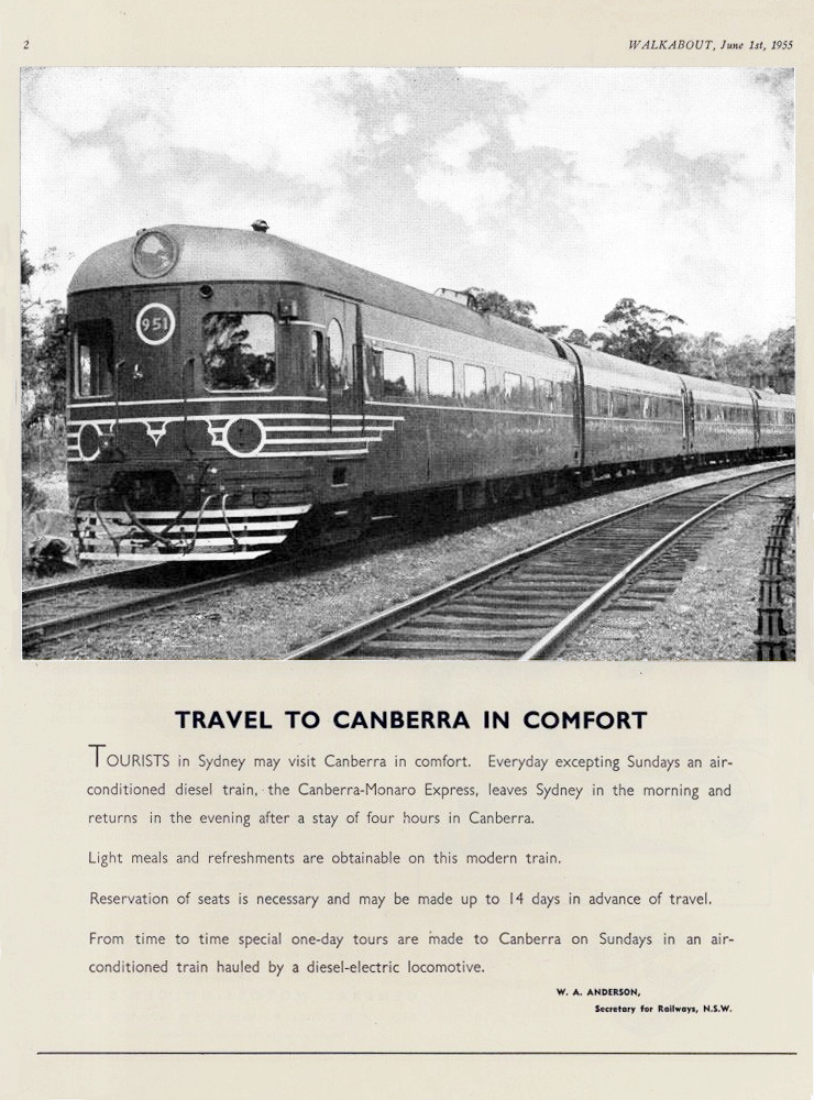 transpress nz: Canberra - Monaro Express, NSW, advert, 1955