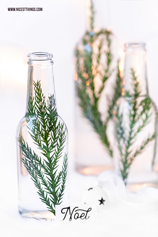 Tannenzweige Zweige in Flaschen Tischdeko Weihnachten Cryptomeria Sicheltanne