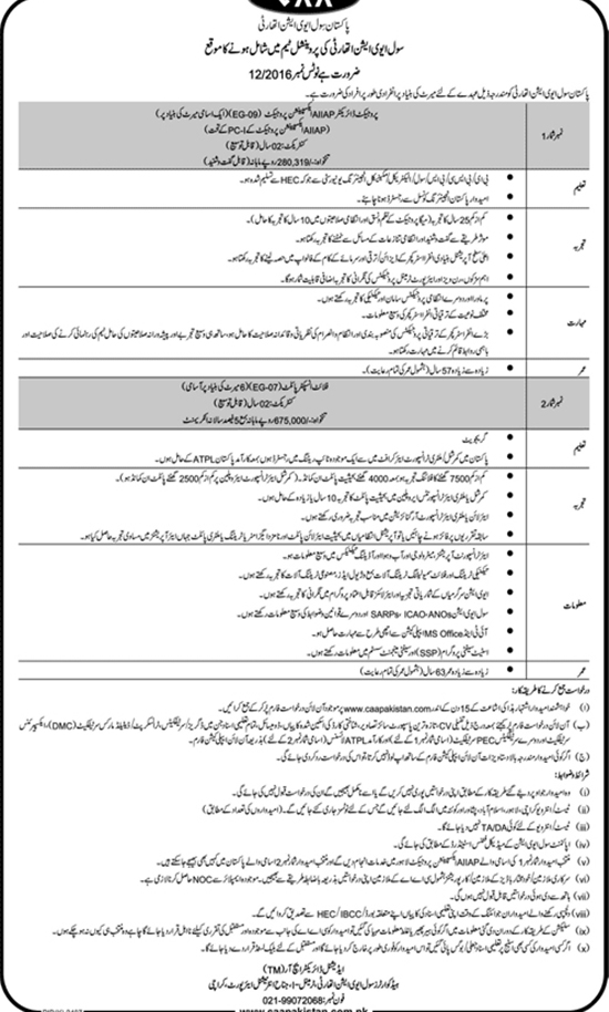 Pakistan Civil Aviation Authority Jobs in Karachi