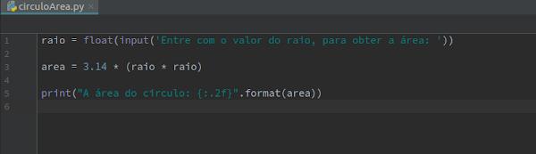 Script Python área do círculo