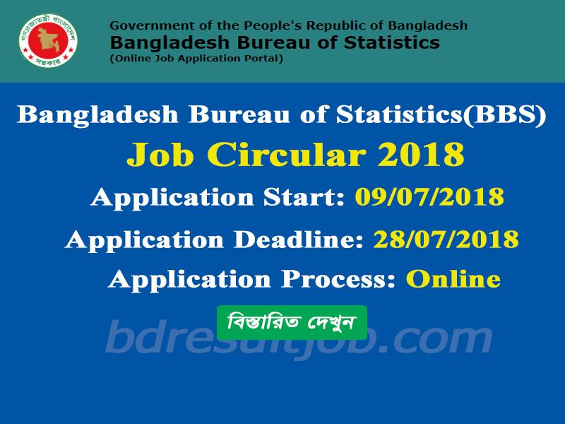 Bangladesh Bureau of Statistics (BBS) Job Circular 2018