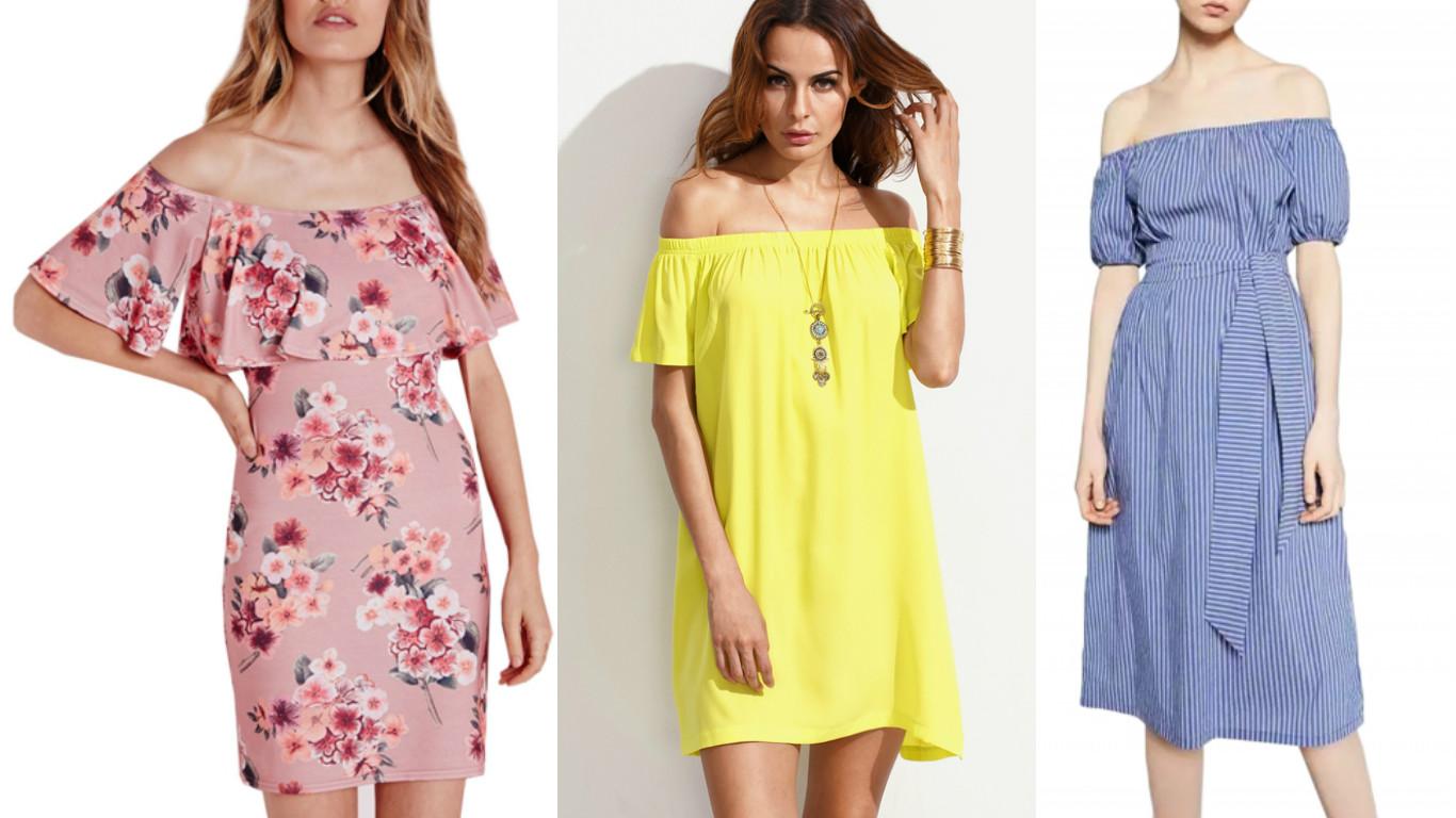 87a09c361956 Floral Off Shoulder Flounce Bodycon Dress · Yellow Off The Shoulder Dress · Off  Shoulder Striped Tie Waist Dress